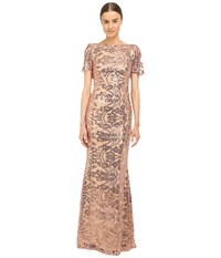 Marchesa Sequin Short Sleeve Gown W Cowl Back Blush