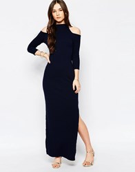 Wal G Maxi Dress With Cold Shoulder Navy
