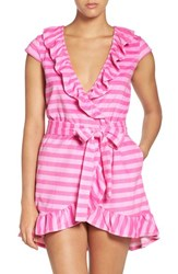 Betsey Johnson Women's 'Vintage' Ruffle Terry Robe Sunny Stripe Pink Flamingo
