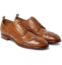 Officine Creative Princeton Washed Leather Brogues Tan