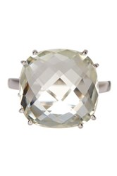 Candela Sterling Silver Faceted Cushion Cut Green Amethyst Ring