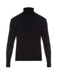 Balenciaga Roll Neck Ribbed Knit Wool Sweater Navy