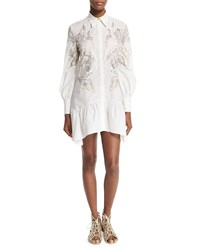 Roberto Cavalli Long Sleeve Feather Print Shirtdress White Gold