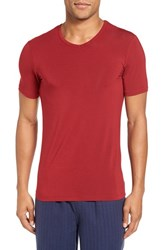 Naked Men's 'Luxury' Micromodal Blend V Neck T Shirt Jungle Red