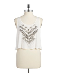 Design Lab Lord And Taylor Tribal Crop Top Ivory