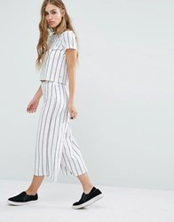 Noisy May High Waist Crop Co Ord Trousers In Stripe White Black Stripe Multi