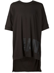 Barbara I Gongini I Am Print Asymmetric T Shirt Black
