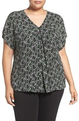 Michael Michael Kors Plus Size Women's 'Graphic Snake' Print Cold Shoulder Top