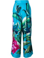 For Restless Sleepers Tropical Print Silk Trousers Blue