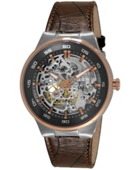 Kenneth Cole New York Men's Automatic Brown Leather Strap Watch 44Mm Kc8047