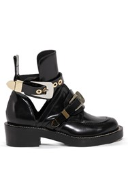 Balenciaga Ceinture Cut Out Leather Ankle Boots Black