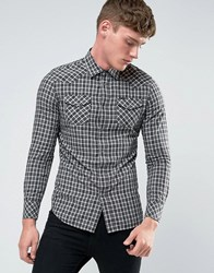 Diesel S Zule Check Western Shirt Charcoal White