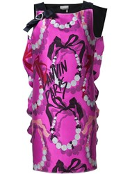 Lanvin Bow Detail Printed Dress Pink And Purple