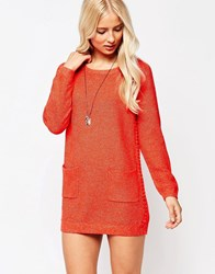 See U Soon Jumper Dress With Bobble Detail Red