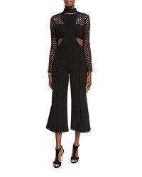 Self Portrait Mack Layered Flare Leg Jumpsuit Black