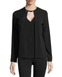 Neiman Marcus Faux Leather Neck Layered Blouse Black