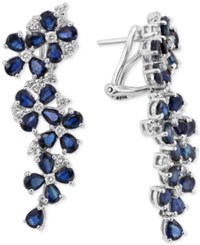 Effy Royal Bleu By Sapphire 9 Ct. T.W. And Diamond 3 4 Ct. T.W. Drop Earrings In 14K White Gold Blue