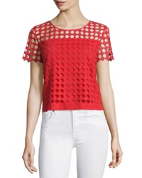 Tory Burch Lin Short Sleeve Lace Front Tee Spark Women's