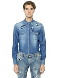 Dolce And Gabbana Gold Fit Embroidered Denim Western Shirt