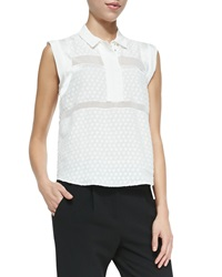 Rebecca Taylor Solid Dotted Sheer Sleeveless Blouse