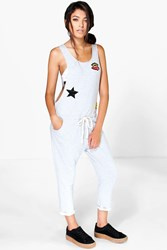 Boohoo Badge Detail Slouch Dungarees Grey