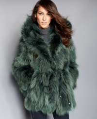 The Fur Vault Hooded Coyote Fur Parka Green