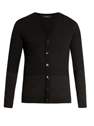 Helbers V Neck Contrast Panel Cardigan Black