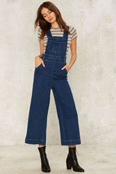Wide Stepping Denim Overalls Blue