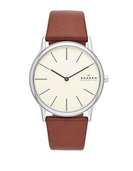 Skagen Mens Silvertone And Leather Watch Brown
