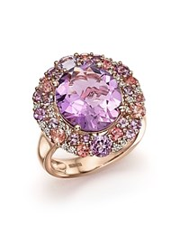 Bloomingdale's Purple Amethyst Pink Amethyst Pink Tourmaline And Diamond Cocktail Ring In 14K Rose Gold Pink Rose