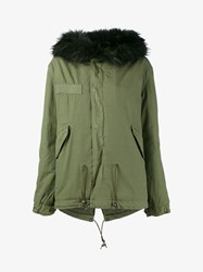 Mr And Mrs Italy Raccoon Fur Trimmed Short Parka Khaki Black Green