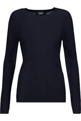 Magaschoni Ribbed Cashmere Sweater Midnight Blue