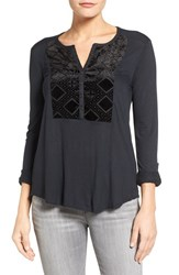 Lucky Brand Women's Burnout Velvet Bib Knit Top Jet Black