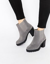 London Rebel Chunky Heeled Chelsea Boots Grey Mf