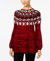 Styleandco. Style Co. Bishop Sleeve Patterned Sweater Only At Macy's New Red Amore Combo