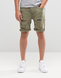 Asos Denim Shorts In Slim Fit With Extreme Rips In Green Burnt Olive