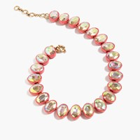 J.Crew Oval Crystal Brulee Necklace Neon Persimmon
