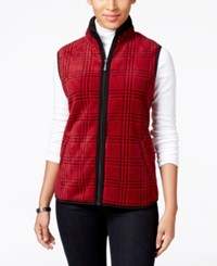 Karen Scott Houndstooth Fleece Vest Only At Macy's New Red Amore