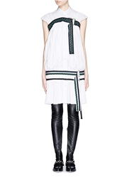 Sacai Braided Belt Fortuny Pleat Shirt Dress White