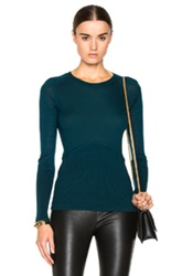 Yigal Azrouel Cold Shoulder Sweater In Blue Green