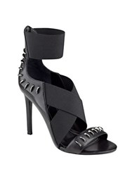 Kendall Kylie Gianna Leather Buckle Sandals Black