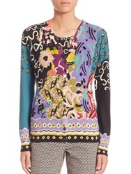Etro Silk Blend Floral Patchwork Cardigan Multi