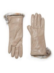 Saks Fifth Avenue Rabbit Fur Cuff Leather Gloves Taupe