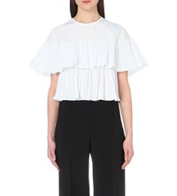 Saloni Frilled Woven Top White