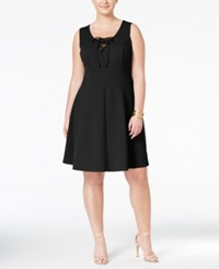 Love Squared Trendy Plus Size Lace Up Fit And Flare Dress Black
