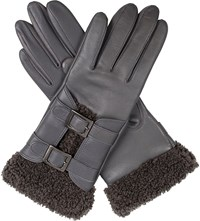 Dents Leah Faux Shearling And Leather Gloves Charcoal
