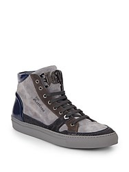John Galliano Suede And Leather High Top Sneakers Grey