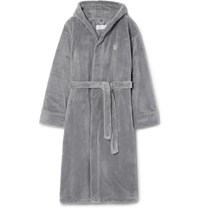 Soho Home Fleece Hooded Robe Gray