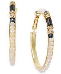 Inc International Concepts Gold Tone Pink And Black Large Bead Hoop Earrings Only At Macy's