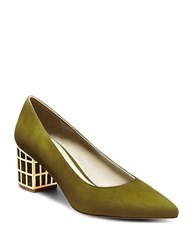 Brian Atwood Karina Embellished Suede Pumps Pine Green